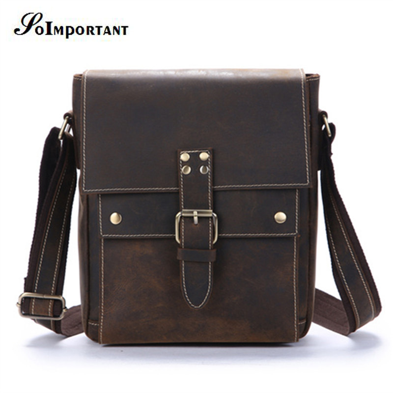 New Vintage Genuine Leather Men Bags Male Cowhide Flap Shoulder Bag Small Crossbody Bags Handbags Messenger Men Crazy Horse Bag 2017 new female genuine leather handbags first layer of cowhide fashion simple women shoulder messenger bags bucket bags