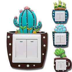 Luminous Cactus Switch Sticker Creative Switch Cover Socket Wall Sticker Switch Decorative Luminous Sticker