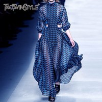 TWOTWINSTYLE Summer Print Dress For Women Stand Collar Long Sleeve High Waist Hollow Out Midi Dresses Female Fashion 2019 New