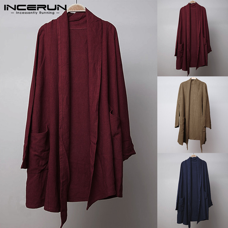 INCERUN Vintage Mens   Trench   Long Cloak Cape Long Sleeve Solid Cotton Irregular Outwear Autumn Cardigan Casual Jacket M-5XL 2019