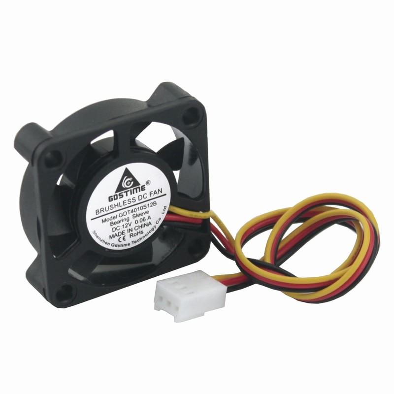 Gdstime 5 Pcs 12 Volt 3pin 4010 Cooling Fan 40x40x10mm Dc
