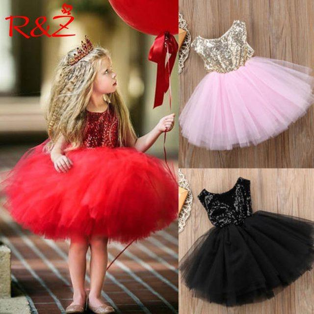 R & Z 2018 בנות שמלות נסיכת ילדי תינוק מפואר חתונה שמלת Sleeveles פאייטים המפלגה שמלת ילדה קיץ שמלות k1