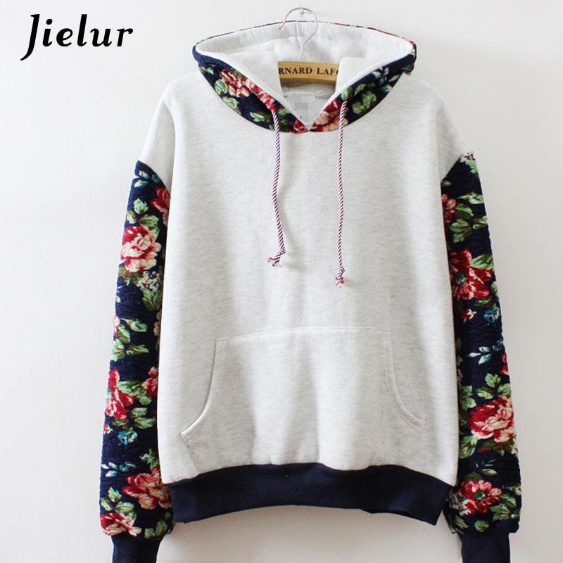 Նոր ռետրո ծաղիկներ Spell Color Long Sleeve Hooded Sweatshirt Women Hoodies Fashion Casual Female Tracksuits S-XL Wholesale