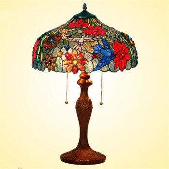 Vintage Châu Âu Tiffany Nhiều Màu Sắc Hoa Thủy Tinh Đèn Bàn cho Tiền Sảnh Phòng Khách Thanh Căn Hộ Kính Chiếu Sáng Đường Kính 40cm 1111