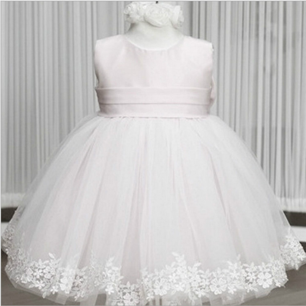 Girl Dress big bow tie Wedding Party Dress 2017 Summer Princess Dresses Clothes Ball Gown with Flowers pink white Lace Princess 2016 girl dress princess lace bow girls dresses summer wedding party dress girl long sleeved floral girl dress big swing custom