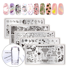 NICOLE DIARY 5Pcs Butterfly Bee Unicorn Stamp Plates Clear Silicone Stamper Scrapers Set Animal Series Kit de placa de imagen de arte de uñas