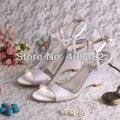 (20 Цветов) Пользовательские Ручной Модель Клин Сандалии для Женщин White Satin Ткань со Стразами