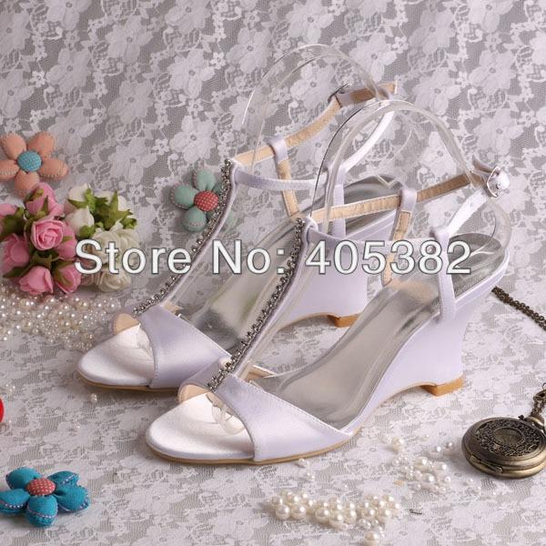 (20 Colors)Custom Handmade Model Wedge Sandals for Women White Satin Fabric with Rhinestones