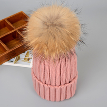 Women Wool hat cap Raccoon fur pompon female High Qualitity Genuine Knitted with full fashion Ladies Beanies