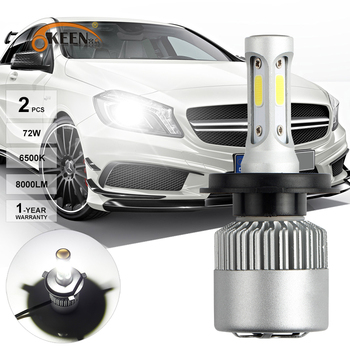 OKEEN S2 LED Headlight Bulbs H4 H7 12V Fog Light Bulb Beam Auto H7 H13 H11 H9 H8 H1 9004 9005 9006 6000K COB Hi-Lo Headlamp LEDs image