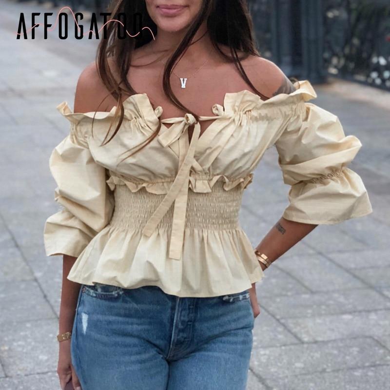 Affogatoo Sexy slash neck lace up women   blouse     shirt   Elastic high waist   blouse   cotton female top   shirt   Summer streetwear   blouse