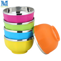 Candy Color Kids Bowl Round Double Insultated Soup Bowls Stainless Steel Food Storage Container Children Dinnerware