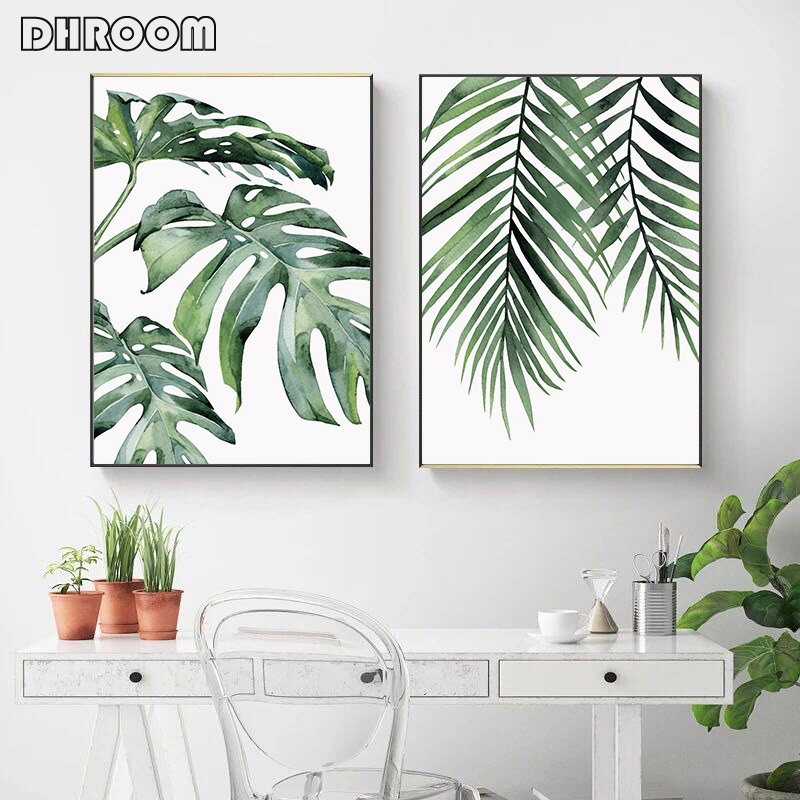 HTB1.a7cN4naK1RjSZFtq6zC2VXai Watercolor Leaves Wall Art Canvas Painting Green Style Plant Nordic Posters and Prints Decorative Picture Modern Home Decoration