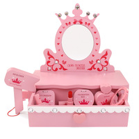Wooden Children's Makeup Toys Simulation Play House Wooden Dresser Girl Cosmetics Set Gift