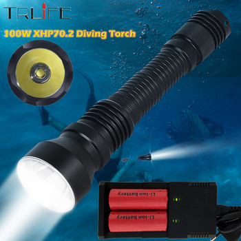 XHP70.2 LED Professional Scuba Diving Flashlight 200m Underwater 6000lums Torch XHP70 IPX8 Waterproof dive Lamp use 26650