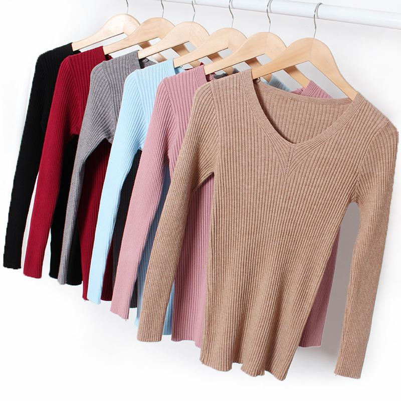 sets de punto Con Cuello En V que basa la camisa camisa de las mujeres suéter d