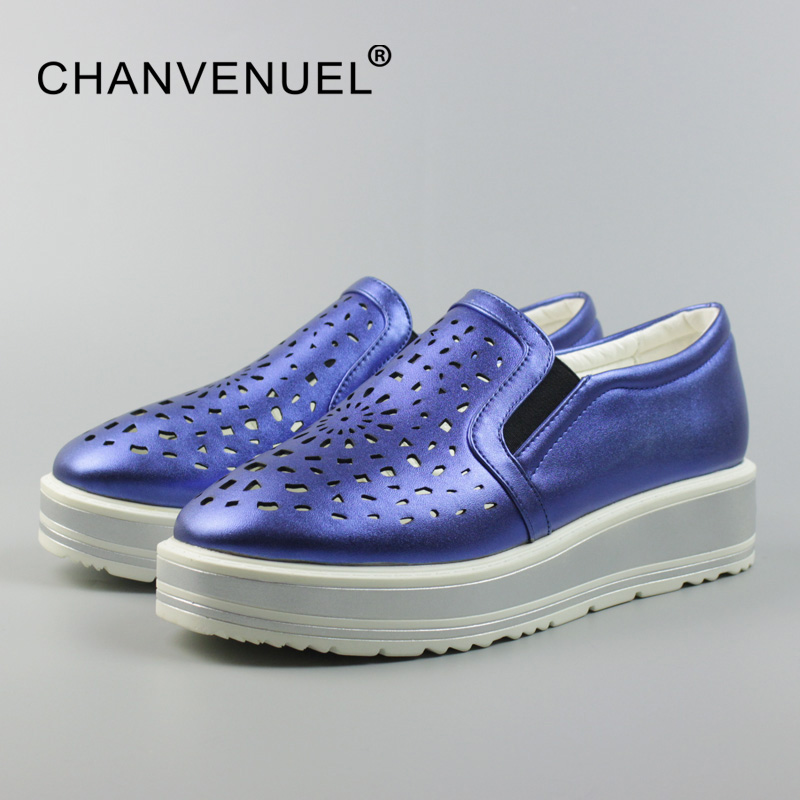 Woman Plus Size Shoes Summer Breathable Platform Loafers Women PU Hollow Women's Flat Platform Shoes Pointed Toe Blue Silvery lankarin brand 2017 summer woman pointed toe flats ladies platform fashion rivet buckle strap flat shoes woman plus size