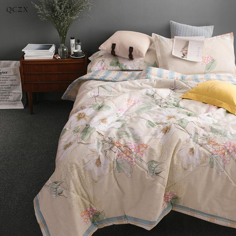 QCZX  Travel Air Conditioning Plaids Cotton summer blanket Baby Adult Air conditioning Blankets Soft Throw on Sofa/Bed/Plane D30 free shipping h letter blanket brand designer home blankets wool cashmere car travel portable blankets throw bed 158x138cm size