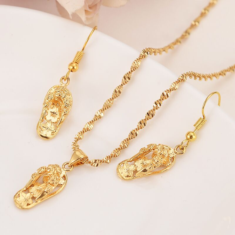 Hot sale 24 k yellow solid gold filled lovely slipper pendant 24 k yellow solid gold filled lovely slipper pendant necklaces earrings women girls party jewelry sets gifts diy charms aloadofball Image collections