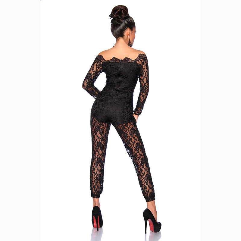 Wonder beauty Sexy Black Full Lace Jumpsuit Elegant Off Shoulder macacao feminino Leotard Long Overalls Plus Size Party Jumpsuit