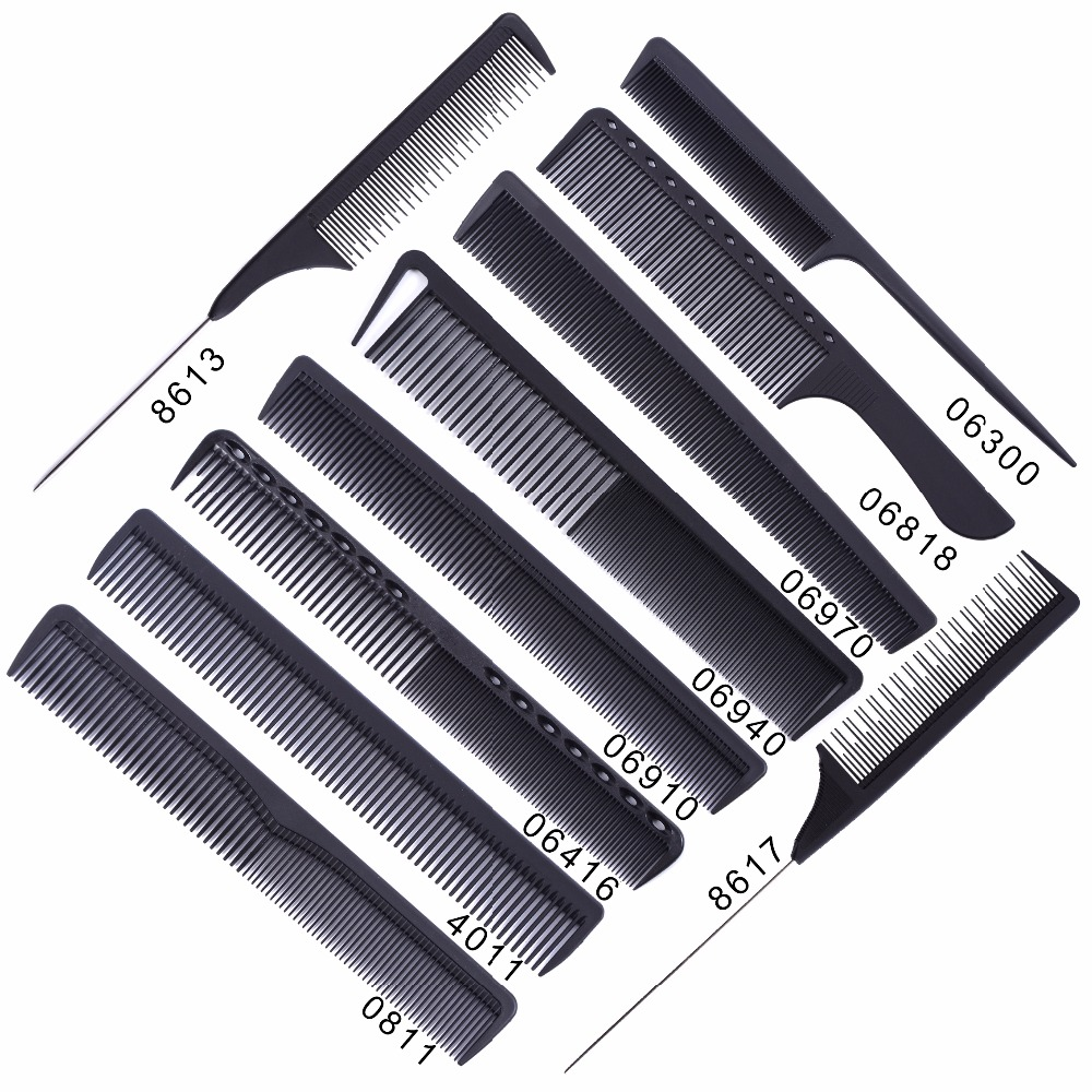 Black Professional Combs Hairdressing New Tail Comb Two Carbon Anti Static Comb Hair Cutting Comb Set
