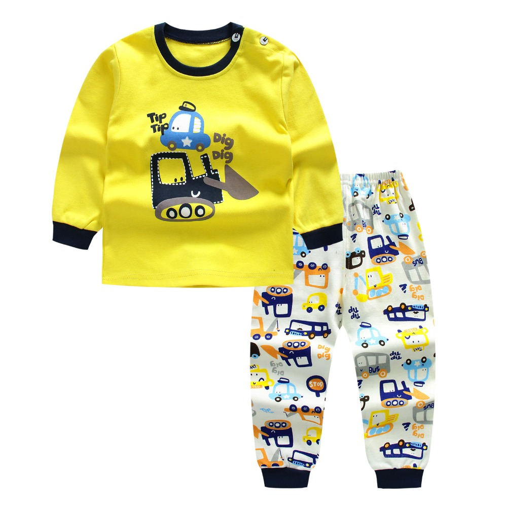 Morningtwo 2018 Cartoon Shirt+pants 2pcs Children's Clothing Set Outfit Toddler Baby Boys Long Sleeves Set 12m-5t For Autumn(China)