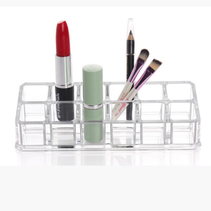kanbuder Clear Acrylic 12 Lattices Lipsticks Cosmetic Display Make Up Brush Drying Rack Brush Storage Shelf DROP SHIP clear acrylic a3a4a5a6 sign display paper card label advertising holders horizontal t stands by magnet sucked on desktop 2pcs