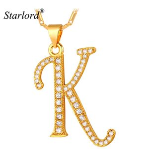 Starlord Initial K Letter Pendants & Necklaces Women/Men Personalized Gift Alphabet Jewelry Gold Color Necklace P1681