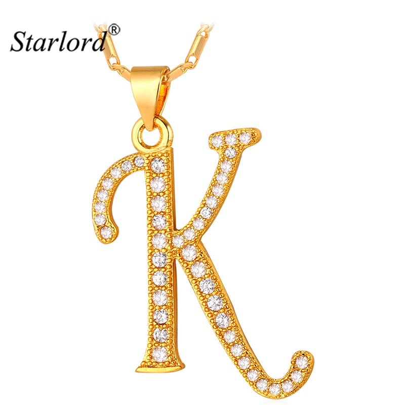 Starlord Initial K Letter Pendants & Necklaces Women/Men Personalized Gift Alphabet Jewelry Gold Color