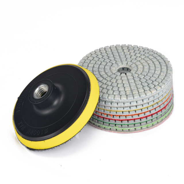 US $14 31 35% OFF|9pcs Wet Dry Diamond Polishing Pad 4 Inch Set With Backer  Pad For Granite Concrete Marble Polish Grinding Sanding Power Tool-in