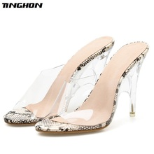TINGHON New Summer Ladies Slipper Fashion Sexy Wear Transparent Monochrome Shallow Mouth Stiletto Snake Slippers Size 4-11