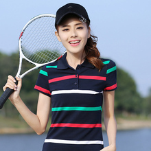 New Striped Tennis Golf T-shirt Female Short-sleeved Summer Cotton Large Size Thin Loose Casual Sports Polo Shirt High Quality