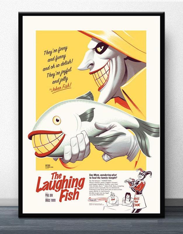 Batman Animated Comic Series Joker Laughing Fish Silk Canvas Poster 24x32 inch