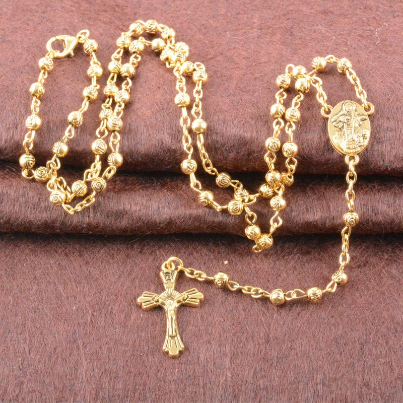 """18K Gold Plated 18/"""" Multi Color Crystal Rosary with Virgin Mary and Cross Charm"""