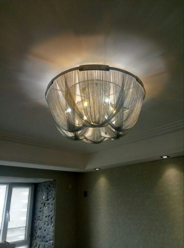 French Aluminum Chain tassel ceiling Light Fixture Empire Vintage Hanging Suspension Lus ...