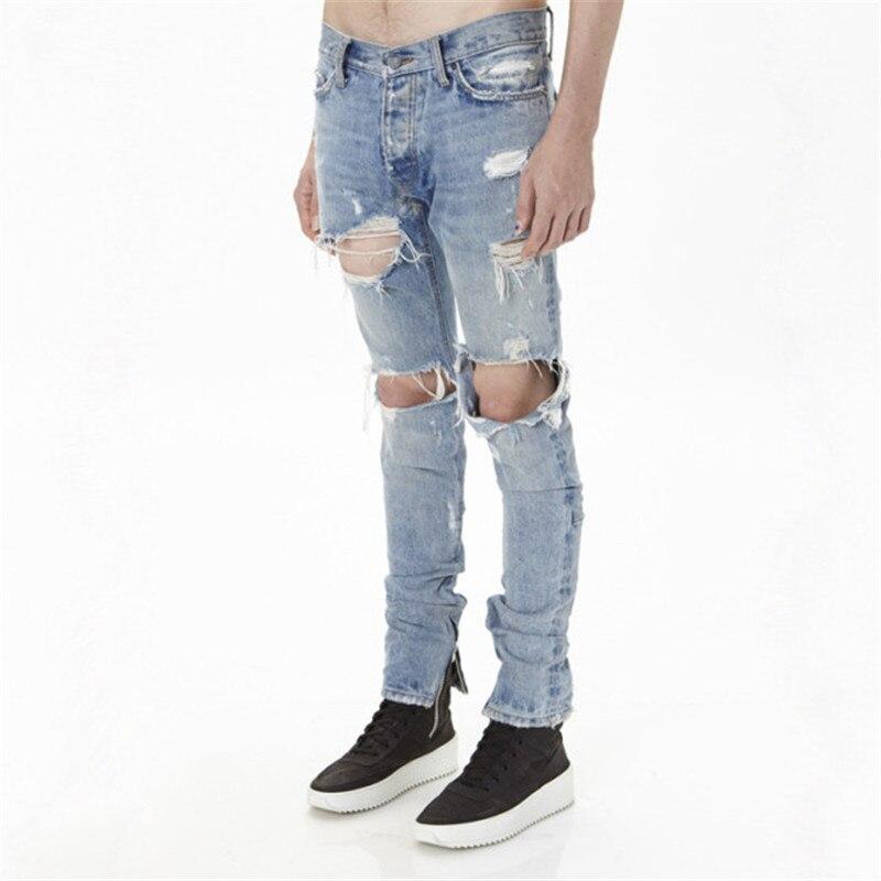 ФОТО New mens cotton fashion hip hop justin bieber jeans with holes distressed Ankle zipper denim pants Size 29-36 z93