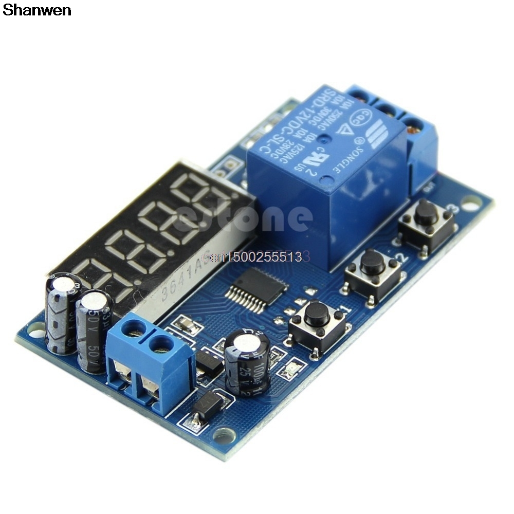 DC 12V LED Display Digital Delay Timer Control Switch Module PLC Automation недорго, оригинальная цена