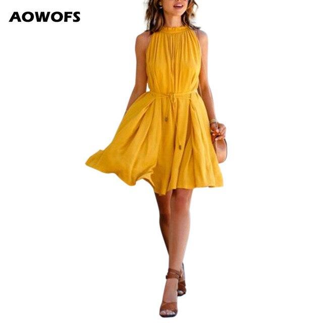 Women's Summer Yellow Beach Dresses Chiffon Sleeveless Evening Party Dress Ruffled Pockets Casual Short Mini Dresses with Sashes