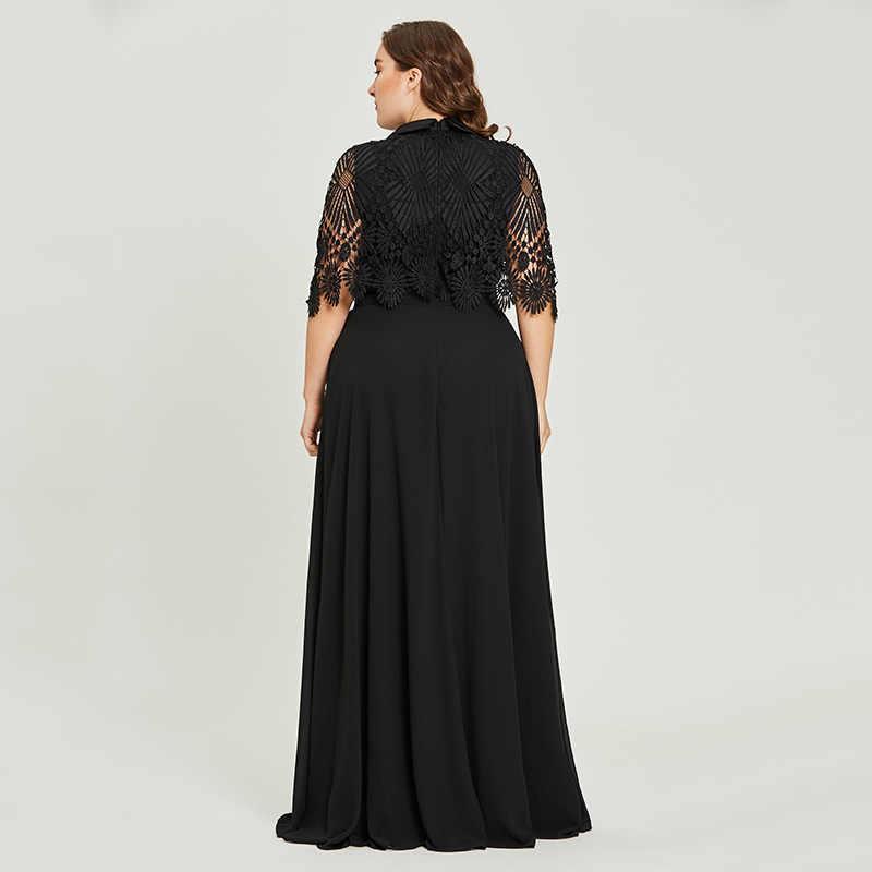 689ac80d89 ... Vestido negro cuello redondo talla grande vestido de noche de encaje  elegante línea a media manga ...
