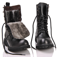 2018 Retro Combat Boots Winter British genuine Leather Military Boots punk rivet Charm Lace Up Men Warm Plush motorcycles Boots