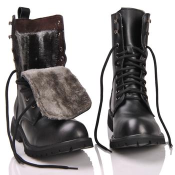 2018 retro buty bojowe zima brytyjski prawdziwej skóry wojskowej buty punk nit urok koronki up mężczyźni ciepłe pluszowe motocykle buty tanie i dobre opinie Dorosłych ŻCHEKHEN Niska (1cm-3cm) Gumowe Tkaniny Buty motocyklowe Skóra naturalna Sznurowane Wiązane krzyżowe Okrągły palec