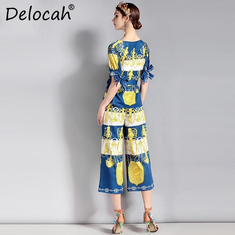 Costumes Élégant Printemps pièces Deux Designer Femmes Été Ceinture De Piste Supérieure Imprimé Pantalon Jeu Ensemble Qualité Fashion Top Multi Delocah pPqw0q