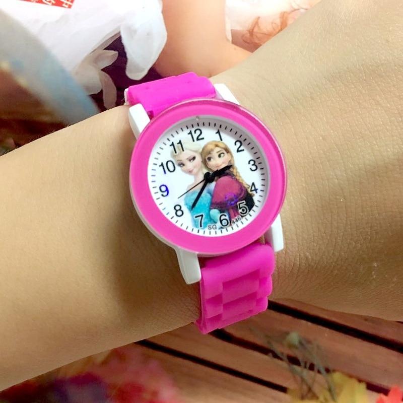Children Watch Cartoon Princess Elsa Child Watches Candy Cute Color Anna Kids Clock For Girl Student Gift Wrist Watches Joven