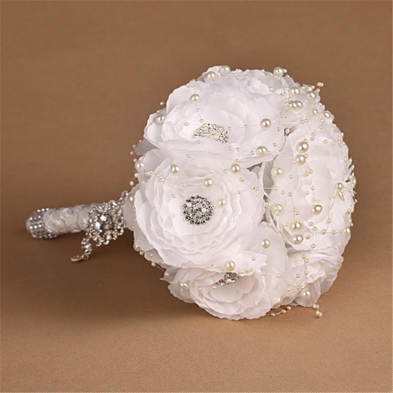 Elegant Bridesmaid Flower Wedding Bouquet Artificial Buquet de noivas Handmade White Beaded Bridal Bouquets Brooch (2)