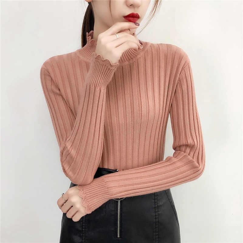 Nuevo suéter de invierno para mujer Jersey suéteres de punto para mujer suéteres calientes delgados otoño moda albaricoque caramelo negro