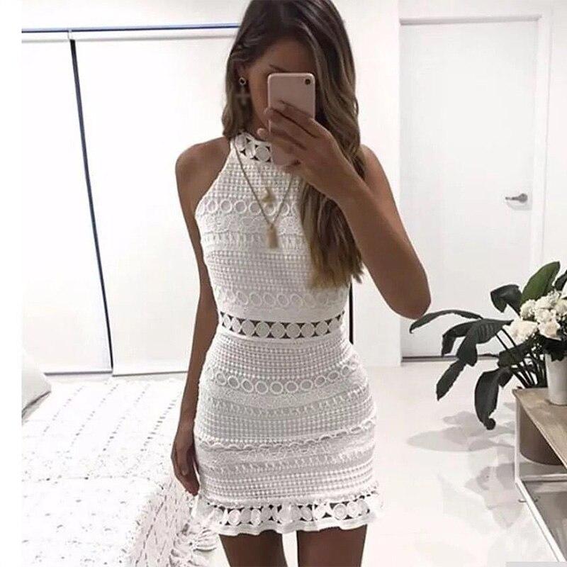 Ärmelloses Aushöhlen Spitze Weiß Mini Frauen Kleid Vintage Sexy Strand Elegante frauen Kleider 2019 Weibliche Vestidos XL Sommer