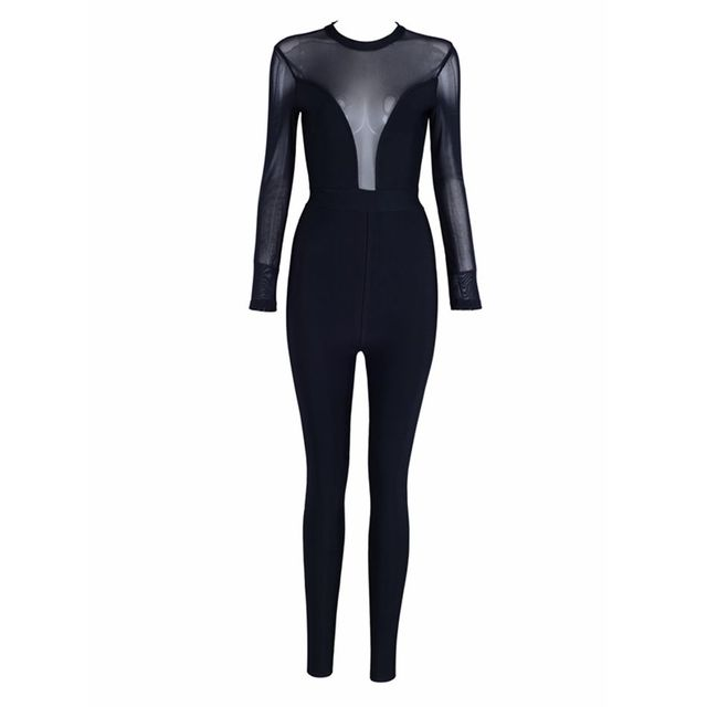 Celebrity Party Bandage Jumpsuit Women Black Long Sleeve O-Neck Mesh Sexy Night Out Bodycon Bodysuit 3