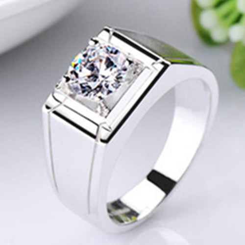 Pure Silver 05CT Men Ring Diamond Jewelry Male Engagement Ring