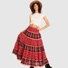 035c87ce2d Floral Print Boho Skirt Women Summer 2018 Maxi Skirts Casual Beach Long  Gypsy Hem Bohemian Retro Long Hippie Pleated Skirt