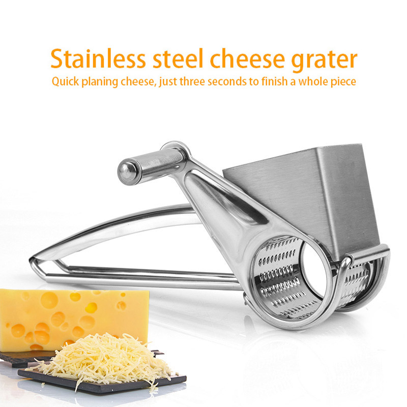 <font><b>Rotary</b></font> <font><b>Cheese</b></font> Planing <font><b>Grater</b></font> <font><b>Stainless</b></font> <font><b>Steel</b></font> <font><b>Cheese</b></font> Presser Shredder Cutter Grinder Kitchen Kit SLC88 image